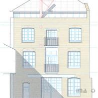 Penthouse to warehouse elevation