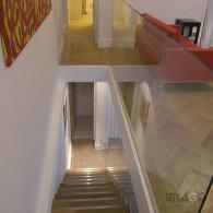 Connecting oak stair and both flats