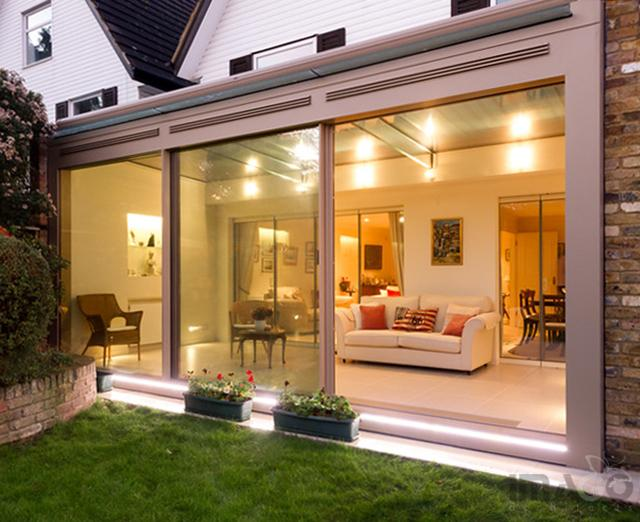 Glass room extension large size of living roompatio roof for Sliding glass doors extension